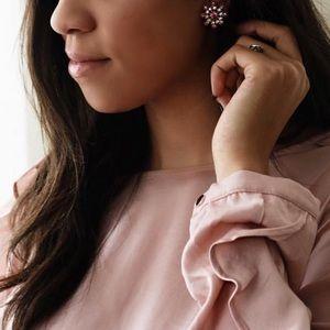 Gold and Pink Rhinestone Screw Back Earrings
